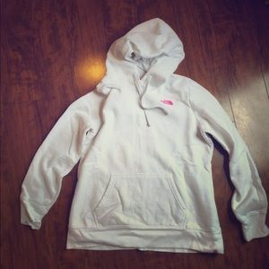 The North Face- white sweatshirt/hoodie . Size L